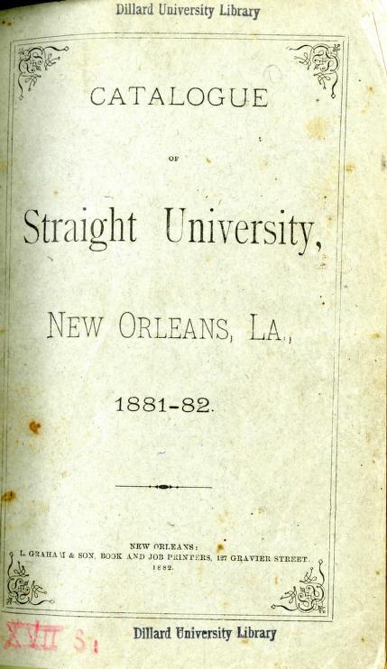 Dillard University - Striaght College Catalogue 1881 1882