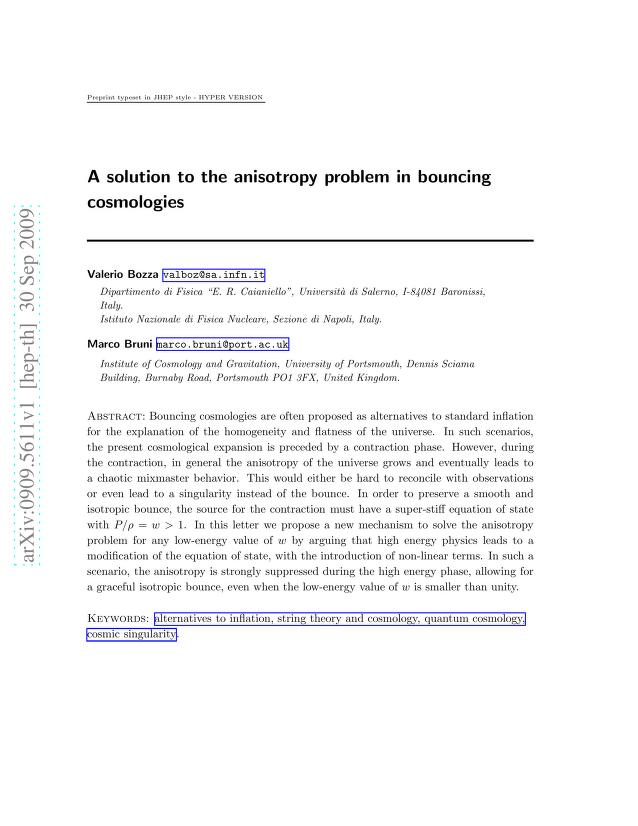 V. Bozza - A solution to the anisotropy problem in bouncing cosmologies