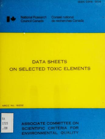 Cover of: Data sheets on selected toxic elements   J. F. Jaworski