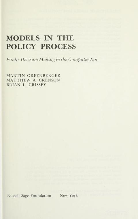 Models in the policy process by Martin Greenberger