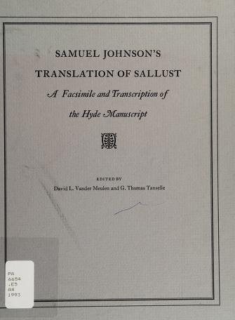 Cover of: Samuel Johnson's translation of Sallust   Sallust