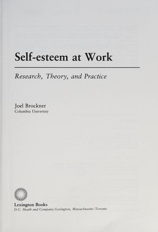 Self-esteem at work by Joel Brockner